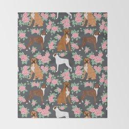 Boxer florals floral pattern dog portrait pet friendly dog breeds boxers Throw Blanket