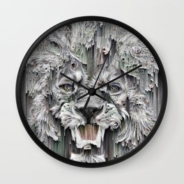 Lion in the night Wall Clock