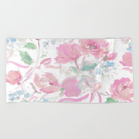 rose ribbons Beach Towel