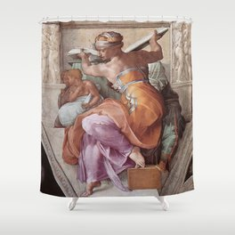 The Libyan Sybil Sistine Chapel Ceiling by Michelangelo Shower Curtain