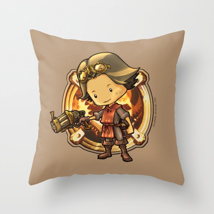 STEAMPUNK ADVENTURE INDIE GAME Throw Pillow