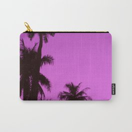 Tropical palm trees on blue pink Carry-All Pouch