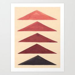 Brown Geometric Triangle Pattern With Black Accent Art Print