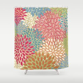 Flower Pattern, Raspberry Red, Lime Green,Teal, Orange Shower Curtain
