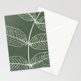 Autumn Leaves, Delicate Gray on Green (Set of 3) Stationery Cards