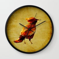 crow Wall Clocks featuring Crow by Joe Ganech