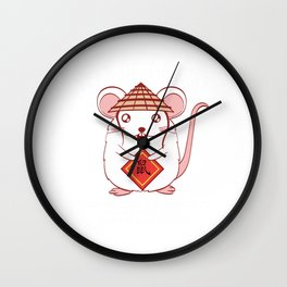 Year Of The Rat Quick Witted Resourceful Versatile Kind Smart And Lovely Happy New Year 2020 T-shirt Wall Clock