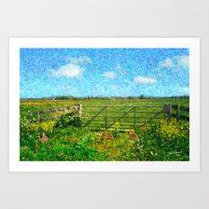 Landscape with rabbits Art Print