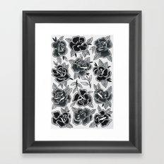 Dozen Roses - Black and White Framed Art Print