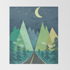 The Long Road at Night Throw Blanket