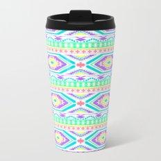 Aztec Geometric Print - Pastel bright colours Metal Travel Mug