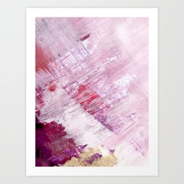 Magnetic [10]: a minimal abstract piece in gold, pink, red, white and purple Art Print
