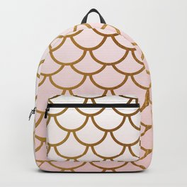 Pink Gradient And Gold Foil MermaidScales - Mermaid Scales Backpack