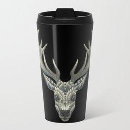'Masked Stag' - Black Bakcground Travel Mug
