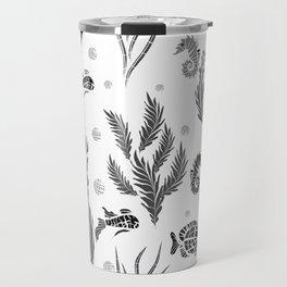 Black and white pattern. Fish . Travel Mug