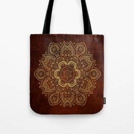 Gold Flower Mandala on Red Textured Background Tote Bag