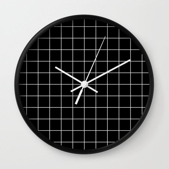 Grid Simple Line Black Minimalist Wall Clock