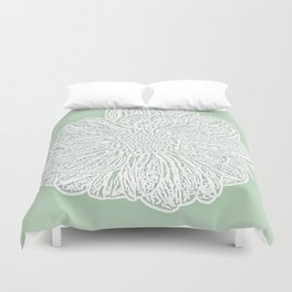 Single White Dahlia Lino Cut, Soft Sage Green Duvet Cover