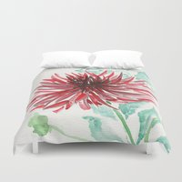 dahlia Duvet Covers featuring Bursting With Excitement  by Kate Havekost Fine Art