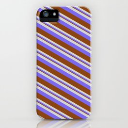 Light Gray, Medium Slate Blue & Brown Colored Pattern of Stripes iPhone Case