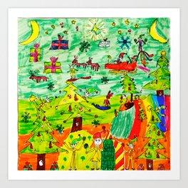 Christmas Village | Painting by Elisavet Art Print