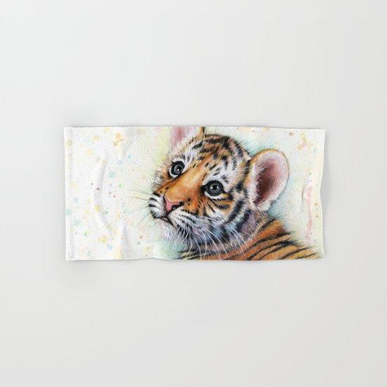 Tiger Cub Watercolor Cute Baby Animals Hand & Bath Towel
