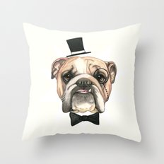 English Bulldog - livin' la vida bulldog Throw Pillow