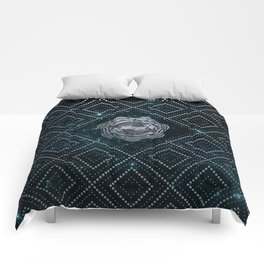 Pisces Zodiac Silver Embossed on the Star sky Comforters