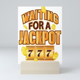 Gambler Waiting for a Jackpot 777 Gambling Fun Mini Art Print