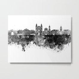 Rennes skyline in black watercolor Metal Print