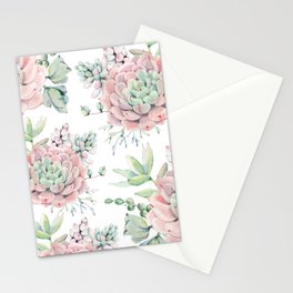 Pretty Pink Succulents Garden Stationery Cards