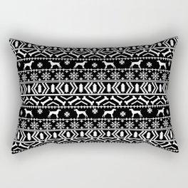German Shorthair Pointer fair isle christmas holidays dog breed pattern black and white Rectangular Pillow