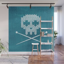 Knitted Skull (White on Blue) Wall Mural