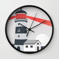 lighthouse Wall Clocks featuring Lighthouse by Mila Spasova