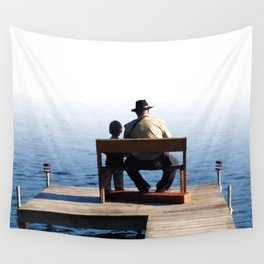 Grandson and Grandfather fishing on the end of a Boat Wall Tapestry