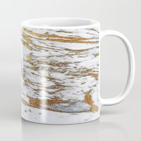 jenna kutcher Mugs featuring Gold Marble by Jenna Davis Designs