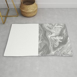 Eiji - spilled ink art marbled paper marbling abstract painting topography nature black and white Rug