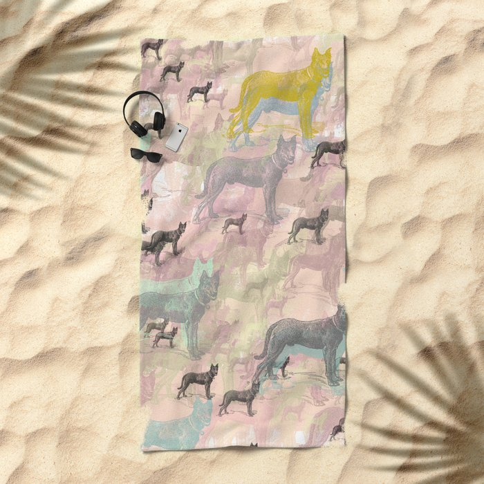 Sky Dogs - Abstract Geometric pink mauve mint grey orange Beach Towel