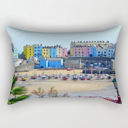Tenby Harbour.Colour.Reflection. Rectangular Pillow