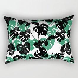 Monstera cheese plant linocut pattern minimal black and white house plants Rectangular Pillow