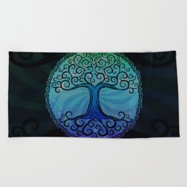 Tree of Life - Cool Blue Beach Towel