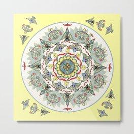 Circling Birds Mandala Metal Print