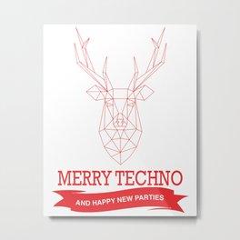 Merry Techno Christmas Metal Print