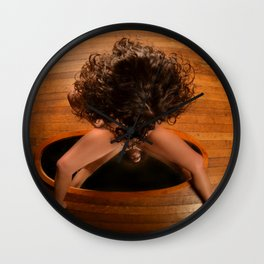 6171-KD Nude Art Model Sitting On Mirror Looking Down Wall Clock