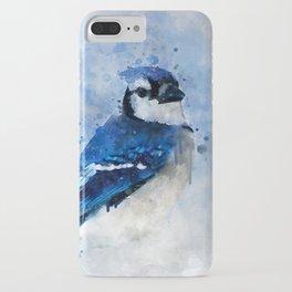 Watercolour blue jay bird iPhone Case