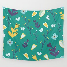 Botanical - green and yellow Wall Tapestry
