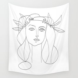 Picasso Line Art - Woman's Head Wall Tapestry