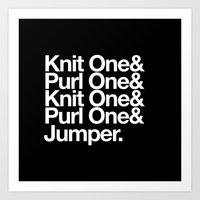 knitting Art Prints featuring Knitting by Outside In