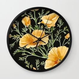 California Poppies on Charcoal Black Wall Clock