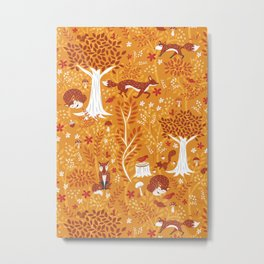 Foxes in a Forest of Fall Trees Metal Print